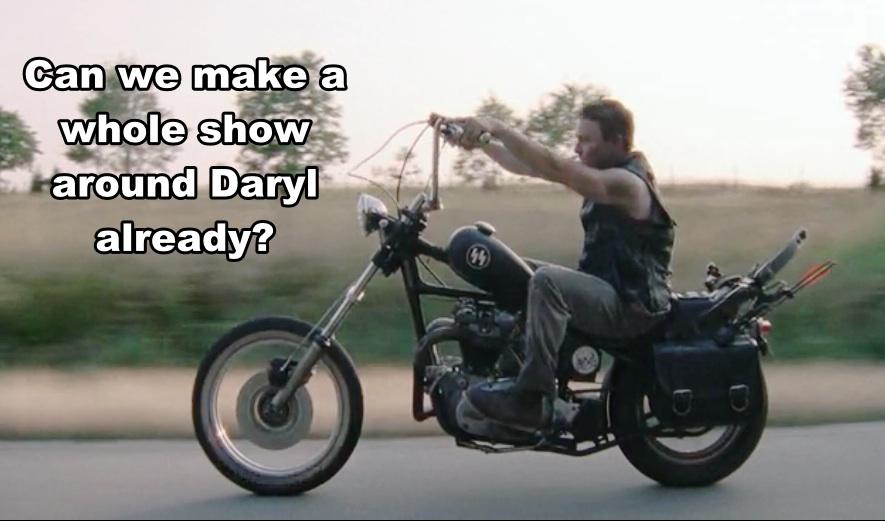 Daryl Dixon rides Motorcycle