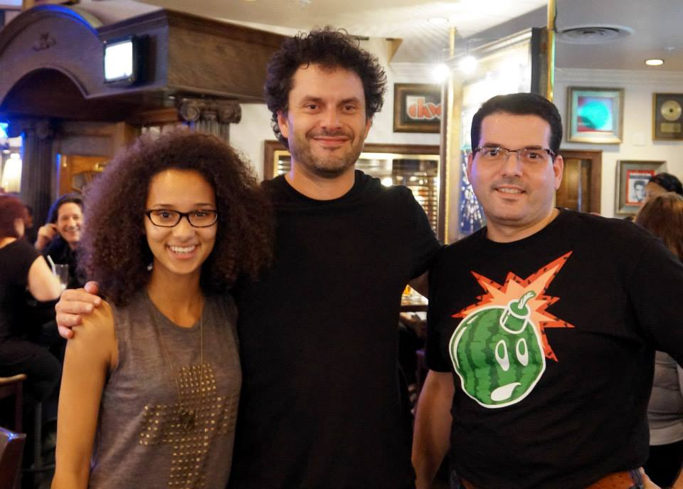 Jasmine, Jason and Michael at the podcaster's meetup.