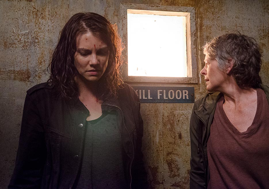 Maggie Green (Lauren Cohan) and Carol Peletier (Melissa McBride) on the kill floor.