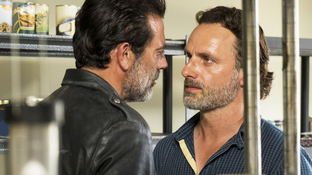Jeffrey Dean Morgan as Negan, Andrew Lincoln as Rick Grimes - Photo Credit: Gene Page/AMC