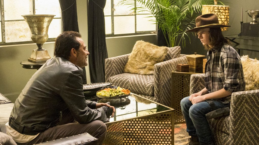 Jeffrey Dean Morgan as Negan, Chandler Riggs as Carl Grimes - Photo Credit: Gene Page/AMC