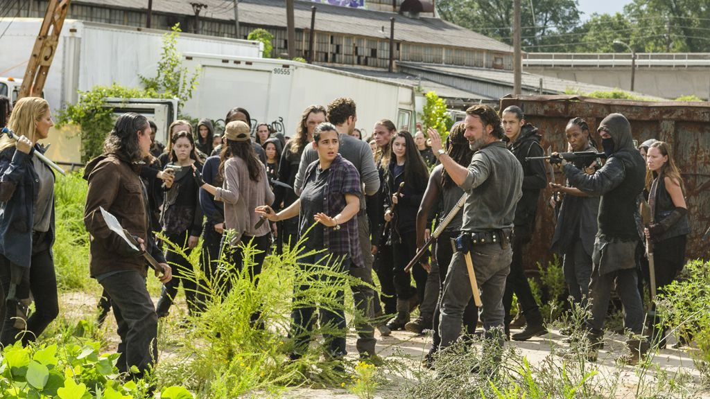 Andrew Lincoln as Rick Grimes, Danai Gurira as Michonne, Ross Marquand as Aaron, Alanna Masterson as Tara Chambler, Christian Serratos as Rosita Espinosa - The Walking Dead _ Season 7, Episode 9 - Photo Credit: Gene Page/AMC