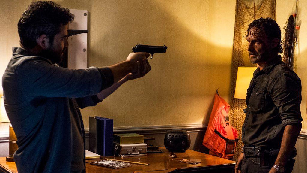 Andrew Lincoln as Rick Grimes, Juan Gabriel Pareja as Morales- The Walking Dead _ Season 8, Episode 3 - Photo Credit: Gene Page/AMC