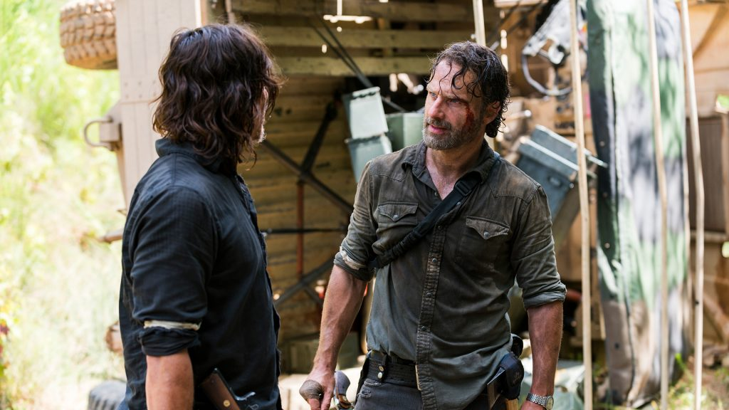 Norman Reedus as Daryl Dixon, Andrew Lincoln as Rick Grimes - The Walking Dead _ Season 8, Episode 5 - Photo Credit: Gene Page/AMC